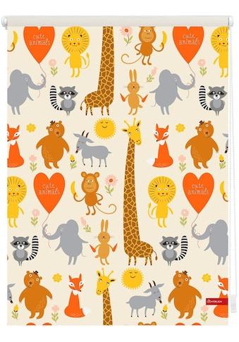 LICHTBLICK Seitenzugrollo »Klemmfix Digital Cute Animals«, verdunkelnd, energiesparend, ohne Bohren, freihängend, bedruckt kaufen