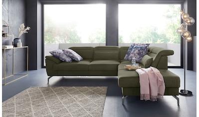 sit&more Ecksofa, 12 cm Fusshöhe, inklusive Sitztiefenverstellung, wahlweise Kopfteilverstellung, wahlweise in 2 unterschiedlichen Fussfarben kaufen