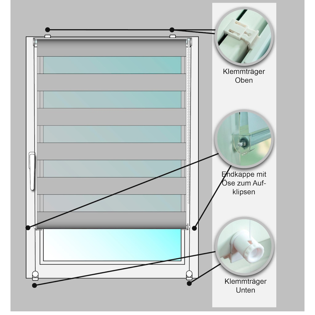 Kutti Doppelrollo »Sola«, Lichtschutz, ohne Bohren, freihängend, Lichtschutz