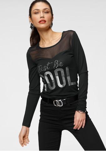 Melrose Rundhalsshirt, mit Glitzersteinen und Folienprint kaufen