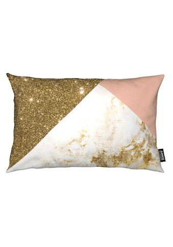 Juniqe Dekokissen »Pink and Goldfarben Marble Collage«, Weiches, allergikerfreundliches Material kaufen