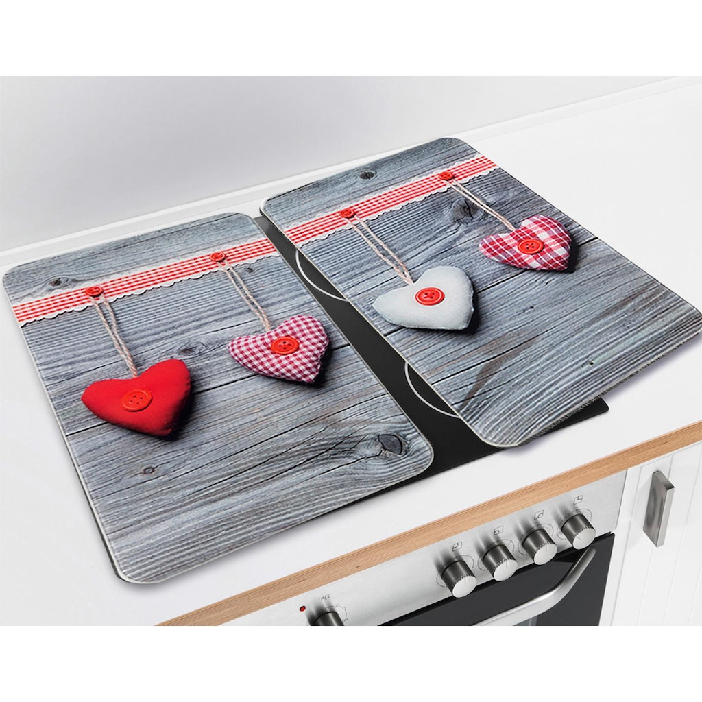 WENKO Herd-Abdeckplatte »Herzen«, rutschfesten Spezialfüße