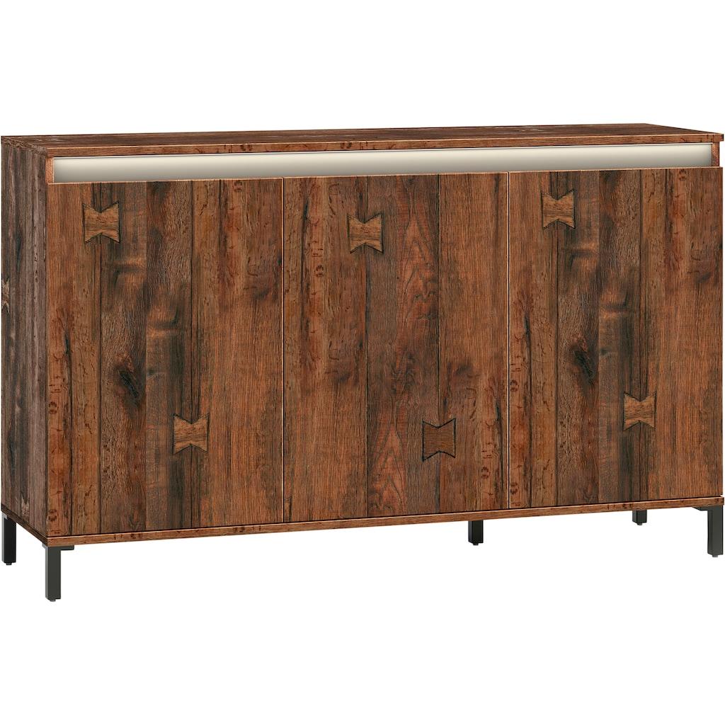 KITALY Sideboard »Genio Industrial«, Mit wendbare Blende in weiss/ anthrazit, Breite 138 cm