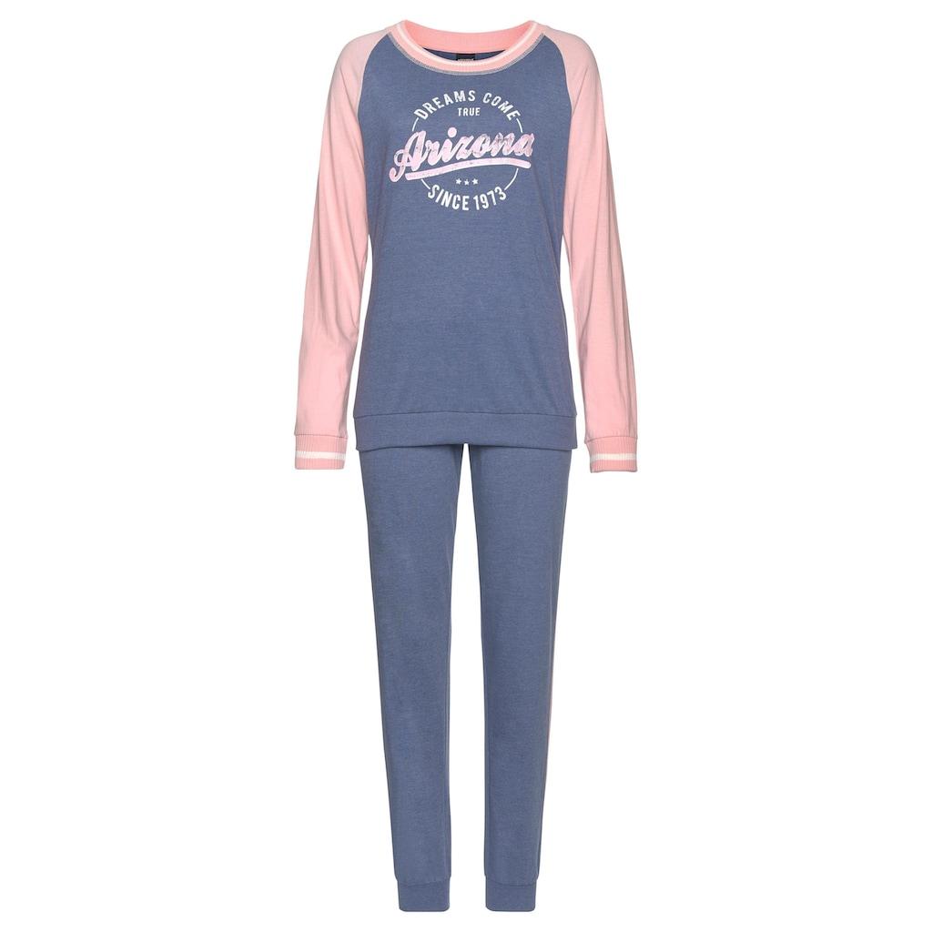 Arizona Pyjama, im College-Look mit Folienprint