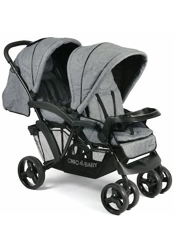 CHIC4BABY Geschwisterwagen »Doppio, jeans blue«, mit Regenschutz; Kinderwagen kaufen