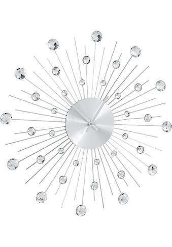 Leonique Wanduhr »Universe«, silberfarben, rund, Ø 50 cm, mit Schmucksteinen kaufen