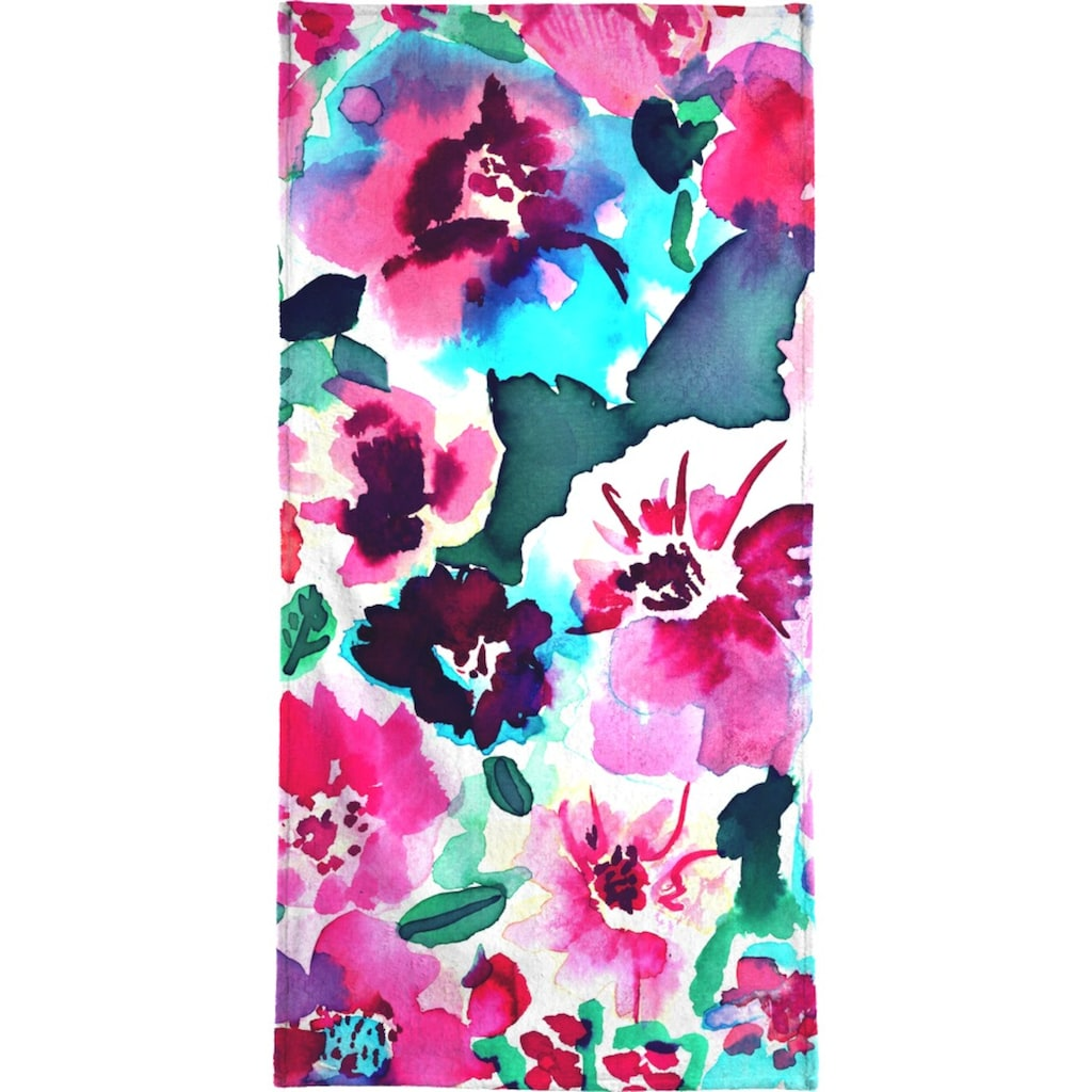 Juniqe Handtuch »Zoe Floral Pink«, (1 St.), Weiche Frottee-Veloursqualität