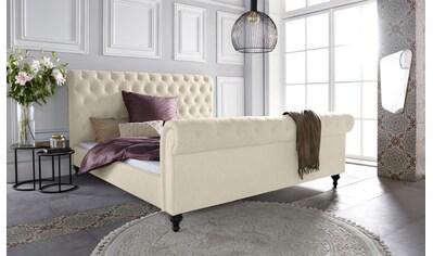 Leonique Polsterbett »Belaja«, mit schnöner Knopfheftung und dekorativen Holzfüssen kaufen