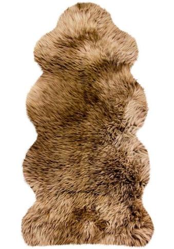 Heitmann Felle Fellteppich »Lammfell KE 152«, fellförmig, 70 mm Höhe, echtes Austral. Lammfell, Farbe braun mit hellbraunen Spitzen, Wohnzimmer kaufen