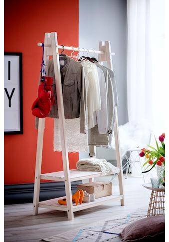 Home affaire Garderobenständer »Ward«, aus massivem weiss lackiertem Fichtenholz, Breite 125 cm kaufen