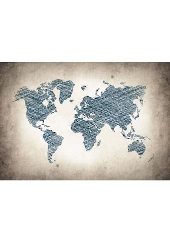 CONSALNET Vliestapete »Graue Weltkarte«, verschiedene Motivgrössen, für das Büro oder Wohnzimmer kaufen