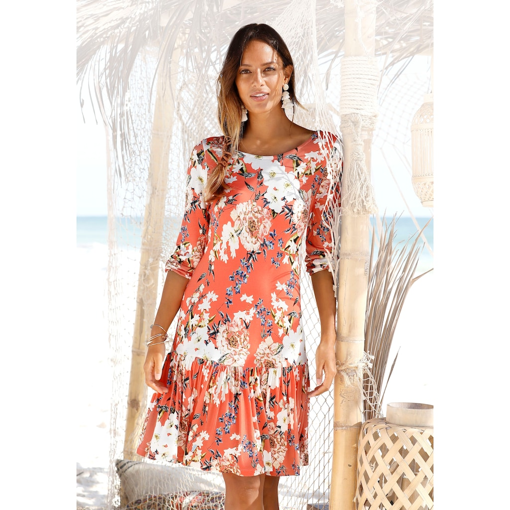 s.Oliver Beachwear Jerseykleid, mit Blumenprint