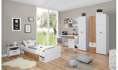 Ticaa Jugendzimmer-Set »Lori«, (Set, 6 tlg.), Bett + Schrank + Schreibtisch + Standregal + Wandregal + Nachttisch kaufen