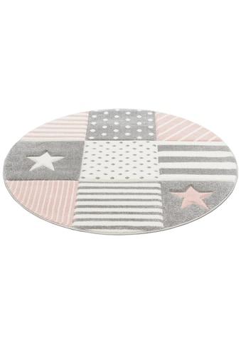 Lüttenhütt Kinderteppich »Stern«, rund, 13 mm Höhe, handgearbeiteter Konturenschnitt, pastellfarben kaufen