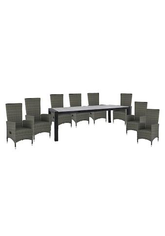 HOMEXPERTS Gartenmöbelset »Zypern«, 9 - tlg., 8 Sessel, Tisch 160/210x95 cm, Alu/Polyrattan kaufen