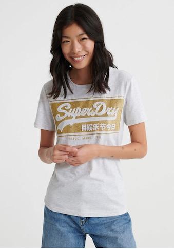 Superdry T - Shirt »V LOGO BLOCK EMBOSS GLITTER ENTRY TEE« kaufen
