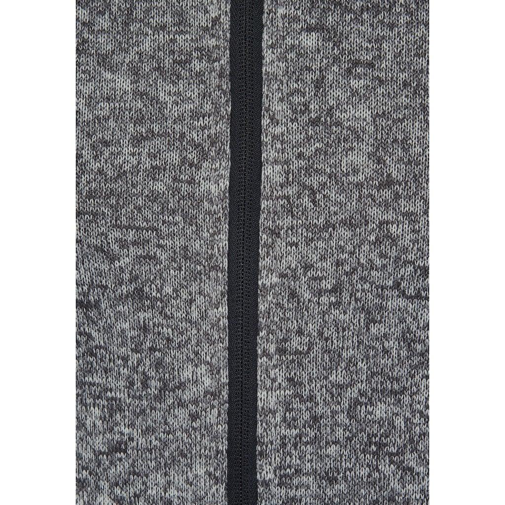 Polarino Strickfleecejacke, mit Kapuze und Reissverschlusstaschen