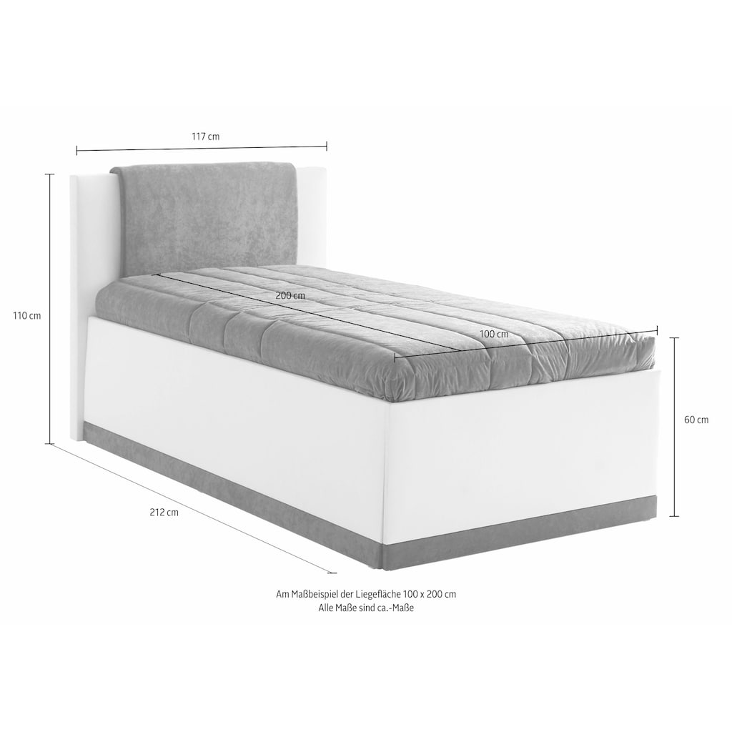 Westfalia Schlafkomfort Polsterbett, mit Bettkasten und Tagesdecke