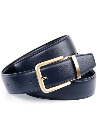 Anthoni Crown Ledergürtel, Wendegürtel in dunkelblau und schwarz, Schliesse... kaufen