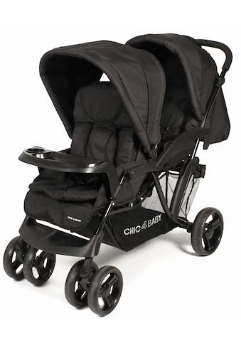 CHIC4BABY Geschwisterwagen »Doppio, schwarz«, mit Regenschutz; Kinderwagen kaufen