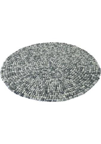 Home affaire Wollteppich »Maja«, rund, 22 mm Höhe, reine Wolle, Filzkugel-Teppich,... kaufen