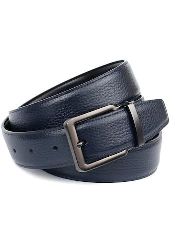 Anthoni Crown Ledergürtel, Wendegürtel in dunkelblau und schwarz, Schnalle matt anthrazit kaufen