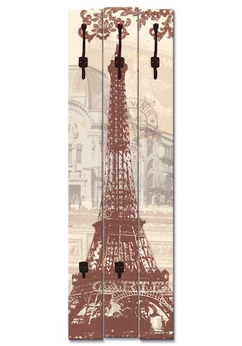 Artland Garderobenpaneel »Paris Collage«, platzsparende Wandgarderobe aus Holz mit 5... kaufen