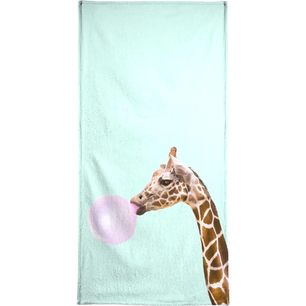 Juniqe Handtuch »Giraffe«, (1 St.), Weiche Frottee-Veloursqualität