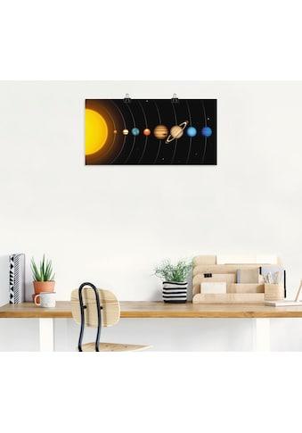 Artland Wandbild »Vector Sonnensystem mit Planeten«, Sonnensystem, (1 St.), in vielen Grössen & Produktarten - Alubild / Outdoorbild für den Aussenbereich, Leinwandbild, Poster, Wandaufkleber / Wandtattoo auch für Badezimmer geeignet kaufen