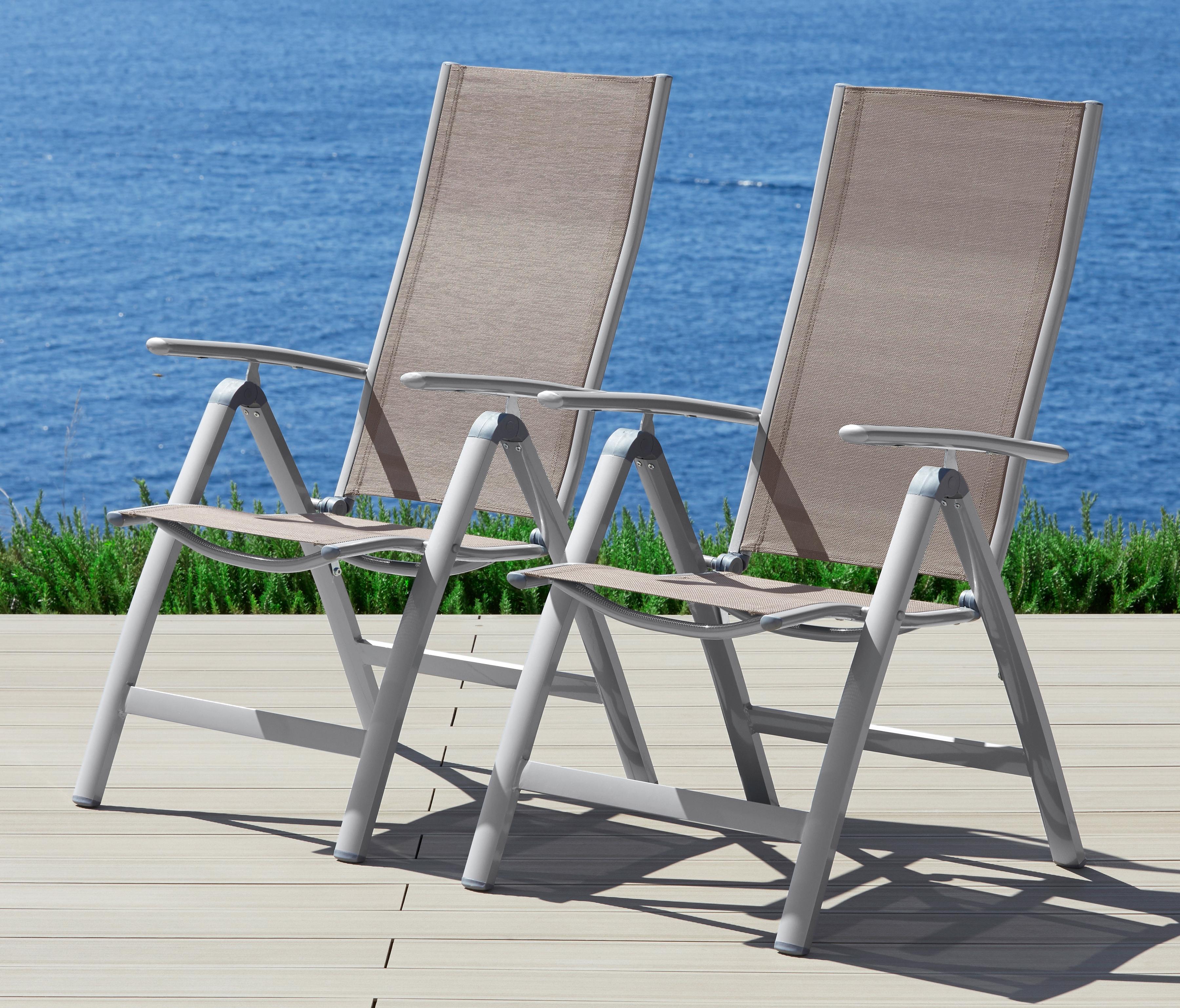 Gartenstuhl »Amalfi«, (2er Set), Alu/Textil, Verstellbar