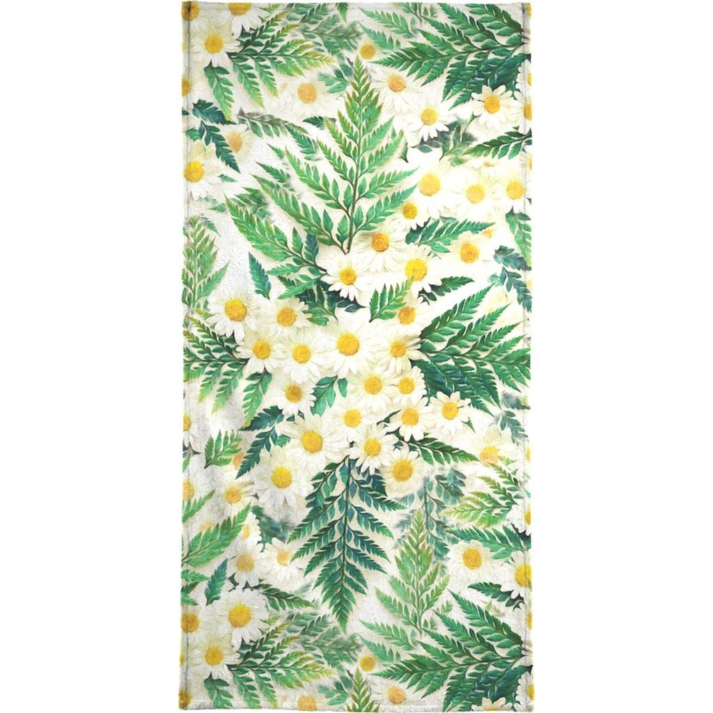 Juniqe Handtuch »Textured Vintage Daisy And Fern«, (1 St.), Weiche Frottee-Veloursqualität