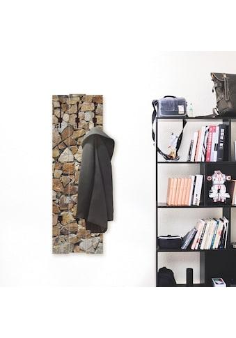Artland Garderobenpaneel »Braune Steinwand«, platzsparende Wandgarderobe aus Holz mit... kaufen
