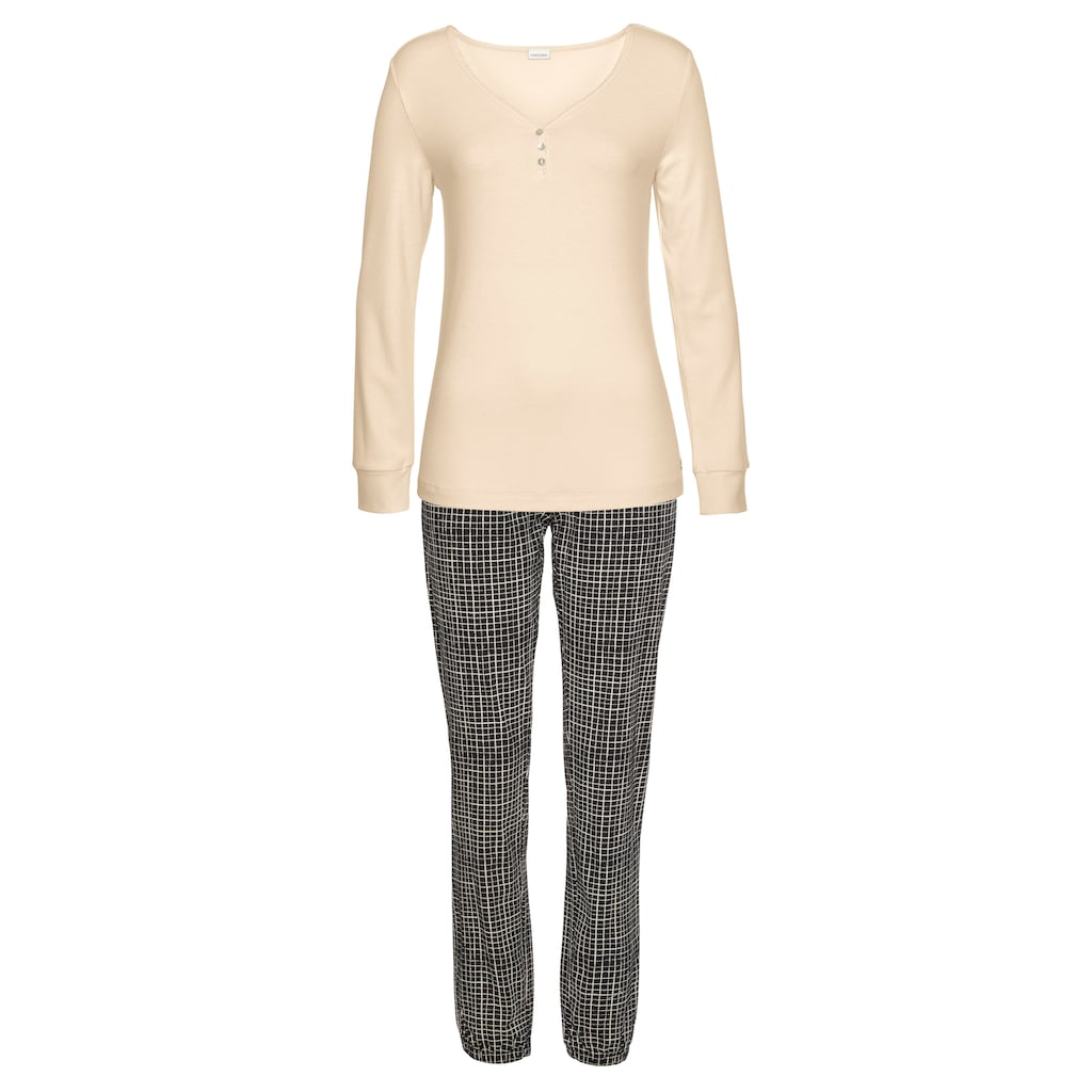 LASCANA Pyjama, mit geripptem Langarmshirt