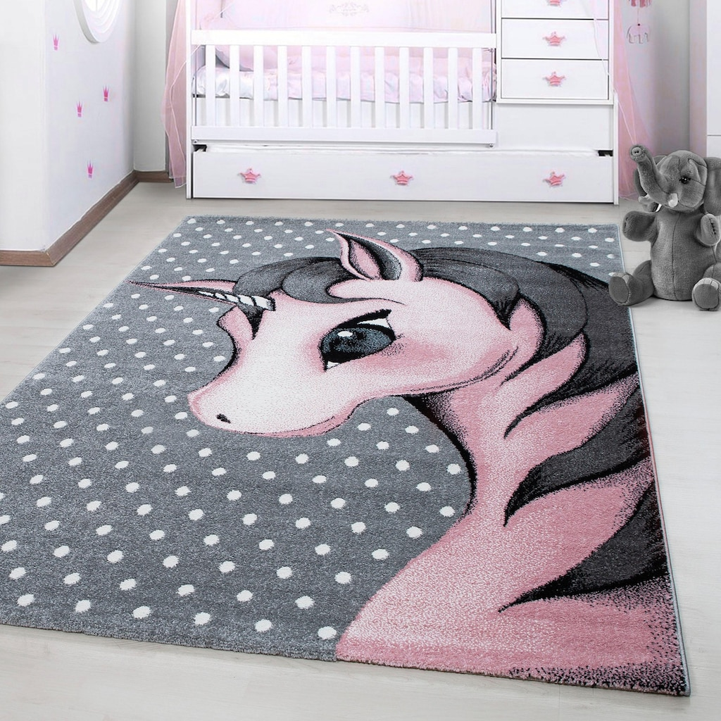 Ayyildiz Kinderteppich »Kids 590«, rechteckig, 12 mm Höhe, Einhorn Motiv, Kurzflor