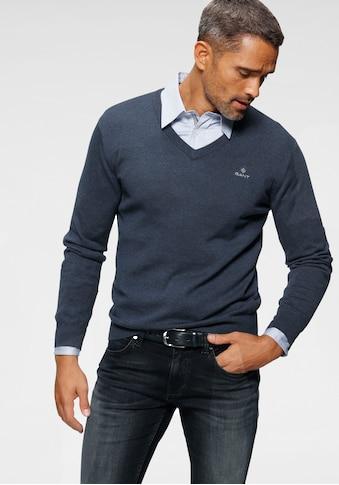 Gant V-Ausschnitt-Pullover »CLASSIC COTTON V-NECK«, Feinstrickqualität aus reiner... kaufen