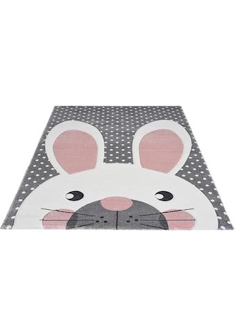 merinos Kinderteppich »Pastel Kids«, rechteckig, 13 mm Höhe, Hasen Motiv, handgearbeiteter Konturenschnitt kaufen