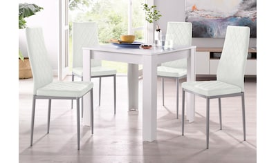 my home Essgruppe »Lynn + Brooke«, (Set, 5 tlg.), mit Tisch in Weiss, Breite 80 cm kaufen