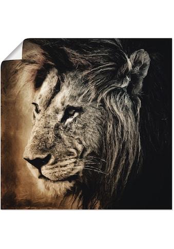 Artland Wandbild »Löwe II«, Wildtiere, (1 St.), in vielen Grössen & Produktarten -Leinwandbild, Poster, Wandaufkleber / Wandtattoo auch für Badezimmer geeignet kaufen