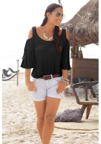 LASCANA Rundhalsshirt, mit Schleifendetail am Ärmel kaufen