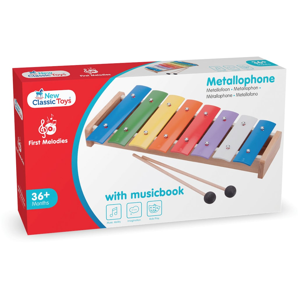 New Classic Toys® Spielzeug-Musikinstrument »Metallophon«, mit Musikbuch; Made in Europe