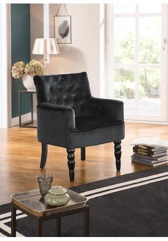 Home affaire Sessel »Alexia«, mit gedrechselten Vorderbeinen und Knopfheftung im Rücken kaufen