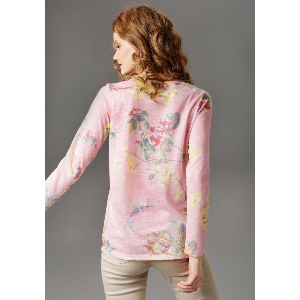 Aniston CASUAL Langarmshirt, mit grossflächigem Blumendruck und Vögeln