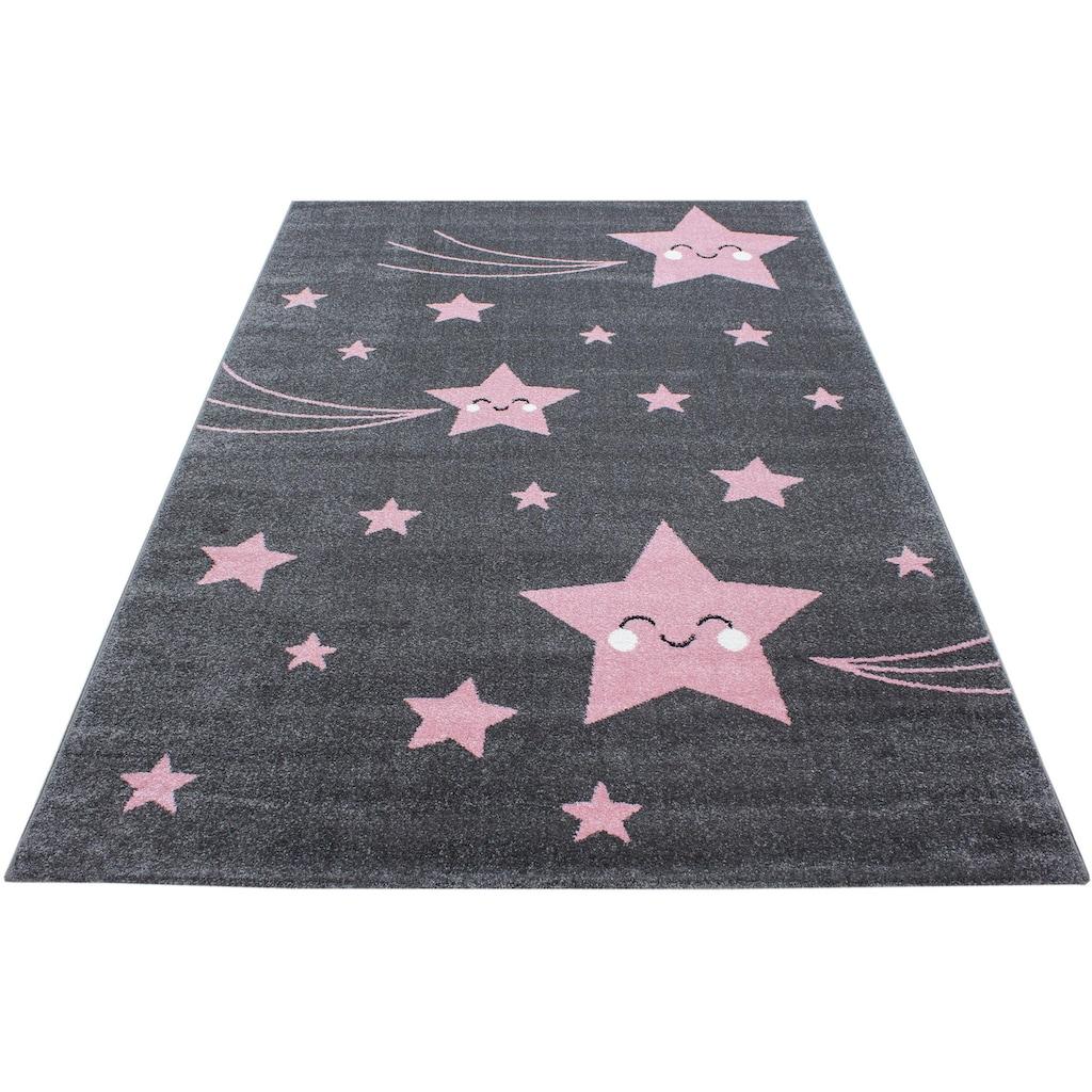 Ayyildiz Kinderteppich »Kids 610«, rechteckig, 12 mm Höhe, Motiv Sterne, Kurzflor