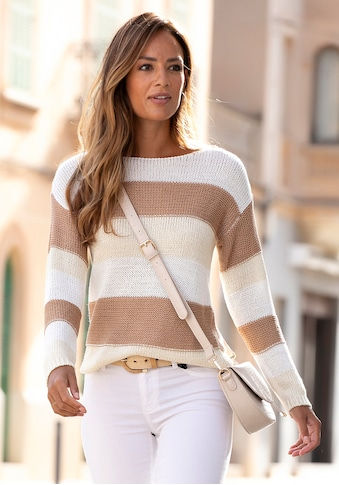 LASCANA Streifenpullover, mit überschnittenen Schultern kaufen