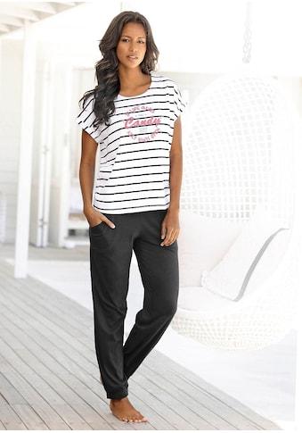 Buffalo Pyjama, im Streifenlook mit farbigem Frontprint kaufen