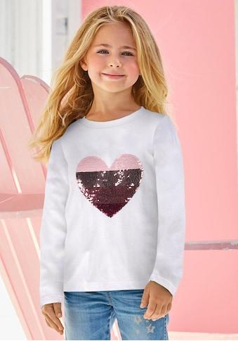 KIDSWORLD Paillettenshirt »Herz«, mit Paillettenherz zum Wenden kaufen