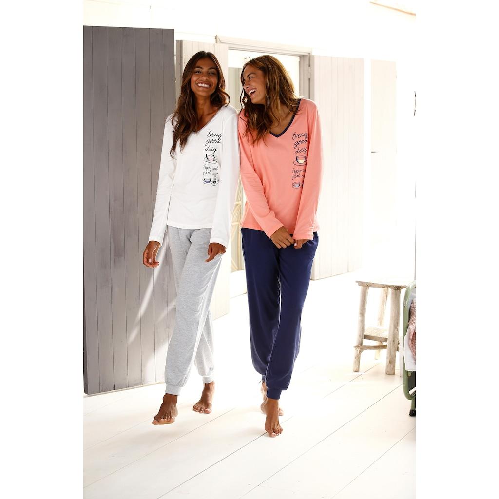 Vivance Dreams Pyjama, mit seitlichem Print