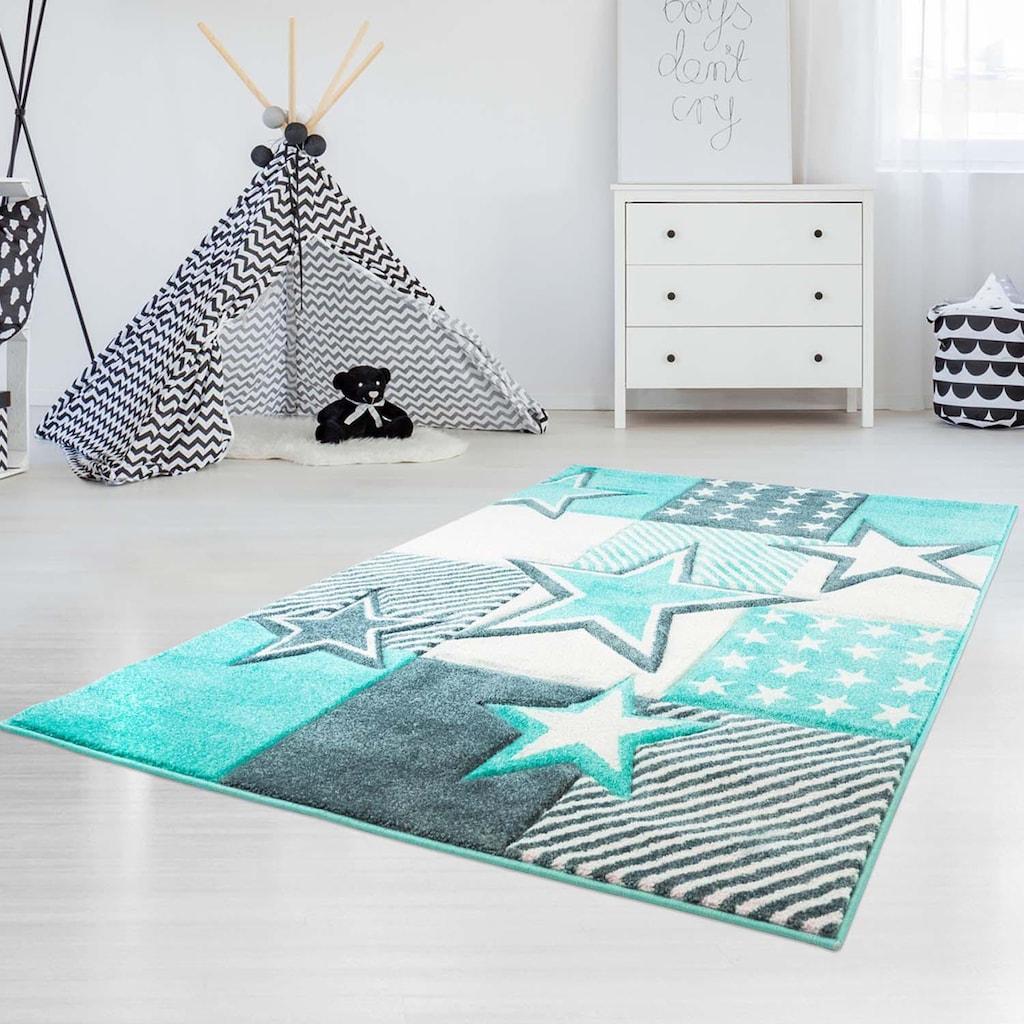 Carpet City Kinderteppich »Bueno Kids 1451«, rechteckig, 13 mm Höhe, Sterne, handgearbeiteter Konturenschnitt