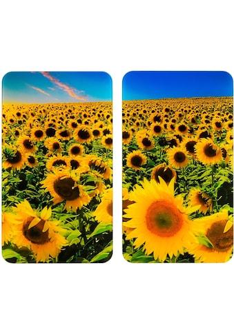 """WENKO Herd - Abdeckplatte """"Universal Sonnenblumenfeld"""", Glas Kunststoff, (Set) kaufen"""