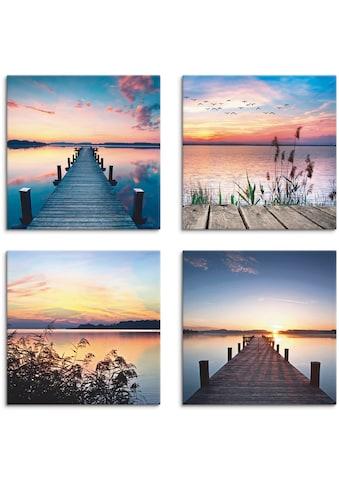 Artland Leinwandbild »Pier See Abendrot Schilf Sonnenstrahlen« kaufen